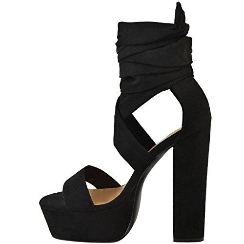 UK Image Daim épais Femmes Miss Noir Hauteur Laçage Plateforme Cheville Pointure Sandales Chaussures Bloc Synthétique Talon Haut Z5nddrq