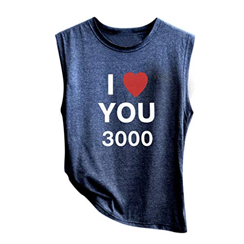 Womens Edge Collection Mobile (NCCIYAZ Womens Vest Top I Love You 3000 Times Print for Marvel Iron Man Tony Stark Sleeveless New Ladies Tank(M(4),Navy-1))
