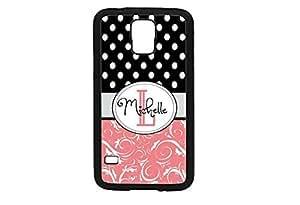 Samsung Galaxy S5 Case Rubber Tpu polka dot black white Damask monogram Coral Gray black white designed & made in USA