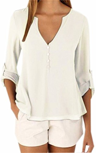 Fuxiang Camicia Donna Chiffon Camicette Maniche Lunghe Blusa Camicie V Collare T Shirt Casual Shirt Camicetta Bluse Colore Puro Camicetta Tops con Pulsante su Bianco
