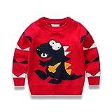 Rebavl Toddler Boys Long Sleeve Pullover Sweatshirts Cartoon Dinosaur T-Shirt Tops for Kids 2-7 Years … (4-5 Years, 2-dinosaur red)