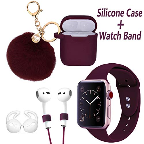 Airpods Case and Apple Watch Band - LitoDream 5 in 1 Case and Watch Band Compatible with Airpods Silicone Cute Glittery Case Cover with Keychain/Strap for Apple Airpod and iWatch (Burgundy,42mm/44mm)