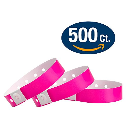 WristCo Neon Pink Plastic Wristbands - 500 Pack Wristbands For Events