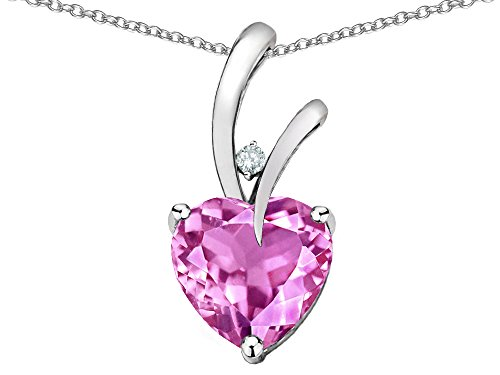 Star K Heart Shape 8mm Created Pink Sapphire Endless Love Pendant Necklace 10 kt White Gold