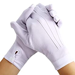 White Stitched Cotton Gloves for Formal ...