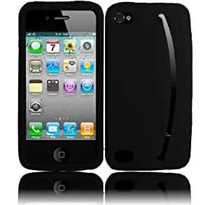 iPhone 4GS 4G CDMA GSM Smile Silicone Skin Cover - Black