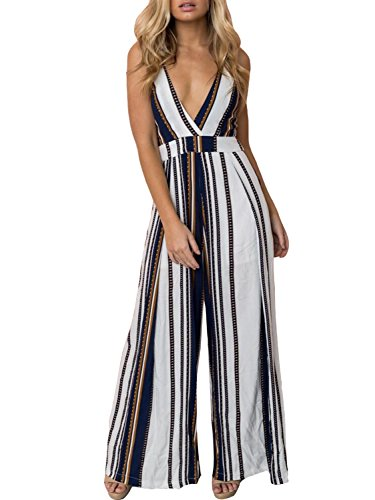 Swmmer Liket V Neck Strip Spaghetti Strap Backless Bow Tie Womens Jumpsuit Rompers