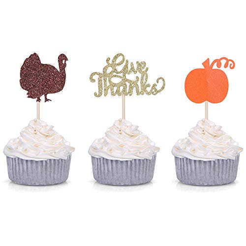 Pack of 24 Turkey Pumpkin Cupcake Toppers for Thanksgiving/Fall Party Decorations