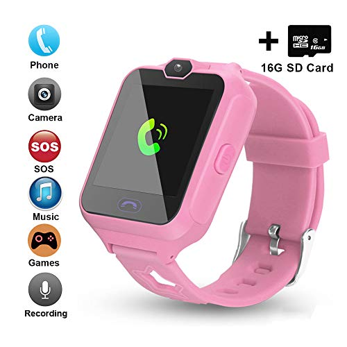 [Updated 2019 Version] Smart Watch for Kids Include [16GB Micro SD Card] Watch Phone with [Camera] [Games] [Alarm] [SOS Touch Screen] Nice Gift for Girls and Boys (Pink)