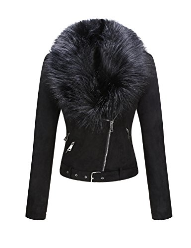 Bellivera Women's Faux Suede Short Jacket, Moto Jacket with Detachable Faux Fur - Fur Jacket Coat Vest