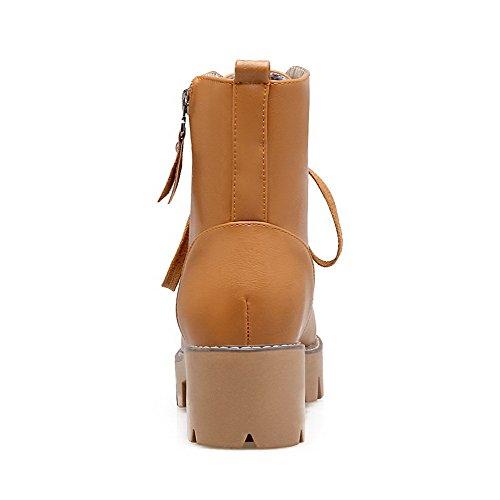 Zipper Boots Yellow Womens Heels Solid AmoonyFashion Top Low PU Kitten 85wAnpx