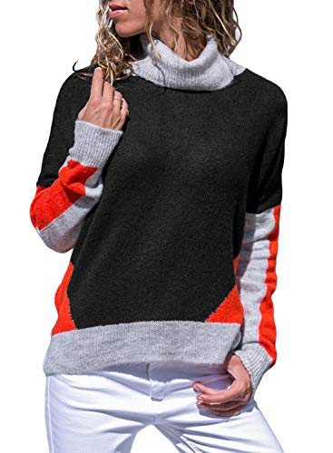 (Asvivid Womens Casual Color Block Long Sleeve Turtleneck Cozy Loose Knitted Jumper Pullover Sweater L Black)