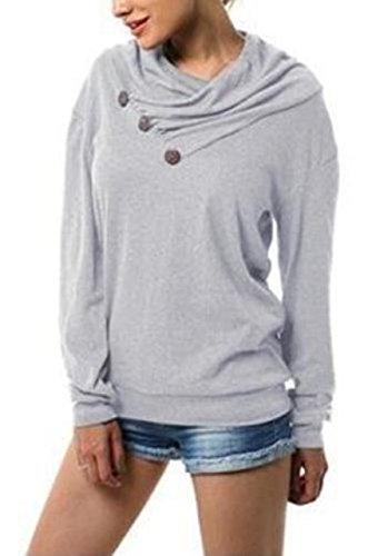MyuRupi Women's Hoodie Long Sleeve Cowl Neck Pullover Sweatshirt Casual Button (Small)