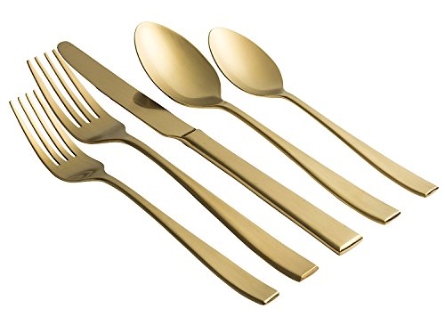 Jaf Gifts 20 Piece Matte Gold Flatware Set - Stainless Steel Cutlery Service For 4 With Soup Spoon, Teaspoon, Dinner Knife, Dinner And Salad (Gold Stainless Flatware)