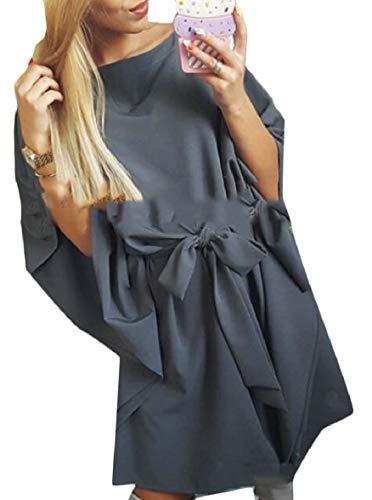 Dress Chiffon One Sleeve Grey Bell Sodossny Shoulder AU Belt Mini Womens UxwFqnBp7
