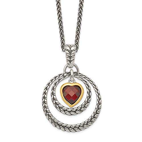 (Sterling Silver Gold Two-Tone Garnet Heart Pendant Necklace 18.00mm)