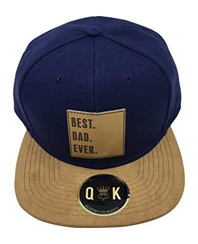 Snapback Hats | Suede Visor | Different Leatharpatch (Best BRO Ever, Best SIS Ever.) (Best DAD Ever | Blue | Adult Size) (Snapback Besten)
