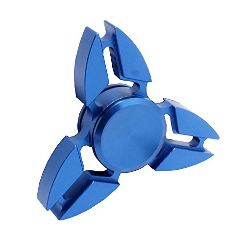 Metal Tri-Spinner Fidget Spinner Toy Stress Reducer Ceramic Bearing – Perfect For ADD, ADHD, Anxiety, and Autism Adult Children (Crab-Blue)