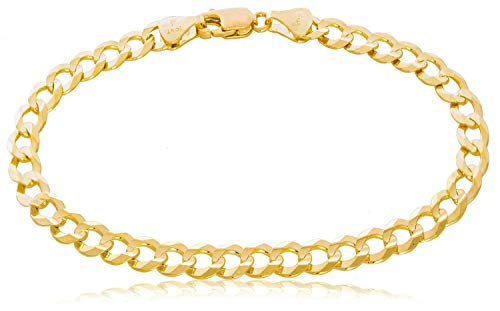 TheDiamondDeal Mens Solid 14K Yellow Gold Shiny Cuban Comfort Curb Chain Bracelet with Lobster-Claw Clasp (7