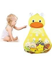 Bath Toy Organizer - Baby Kids Bathroom Toy Storage Bag with 2 Strong Suction Cups Duck, Bathtub Toy Storage Bag-Mesh Net Quick Dry