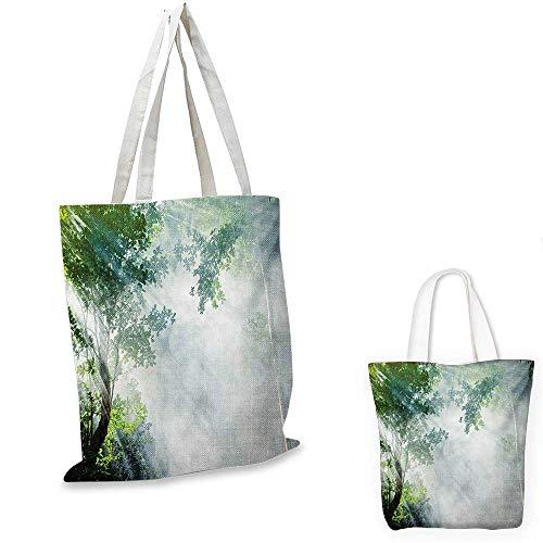 Rainforest canvas messenger bag Sunbeam between Shadows of Trees Idyllic Scenery of Solitude in Jungle Theme canvas beach bag Green White. - Green Messenger Bags Jungle