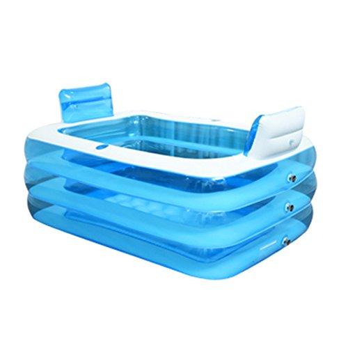 LybCvad Aufblasbare Badewanne PVC Erwachsene Kind Double Infant Thicken Groß e warme Folding Pool Haushalt dampfenden Sauna Badewanne Badeeimer (Upgrade) 1, 5 Meter + Rü ckenlehne