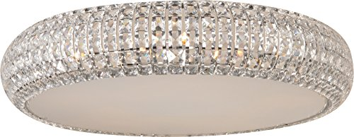- ET2 E21800-20PC Bijou 4-Light Flush Mount, Polished Chrome Finish, Crystal Glass, G9 Xenon Bulb, 116W Max., Dry Safety Rated, 2900K Color Temp., Standard Dimmable, Glass Shade Material, 4500 Rated Lumens