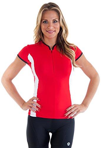 Alii Lifestyle Women's Antoinetta Cap Sleeve Mandarin Collar Bike Jersey, Cherry, Large ()