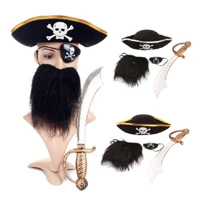 Halloween Costume Pirate Captain Jack Cosplay Costume Fancy Dress Eye Mask Hat Beard Knife Four-piece Suit-Style -