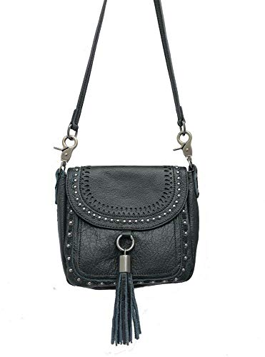 - Montana West Real Leather Messenger Bag Cross Body Purse Flap with Tassel Black