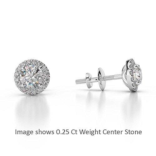 G-H/VS 0,46CT sertie de diamants taille ronde Halo Boucles d'oreilles en platine 950Agder-1010