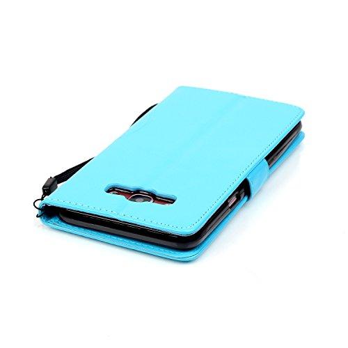 Funda para Galaxy J7 (2016), Galaxy J7 (2016) Funda de PU cuero resistente Ultra Slim Folding Stand Flip Funda Carcasa Caso,Galaxy J7 (2016) Leather Case Wallet Protector Card Holders, Ukayfe Cubierta azzurro3#