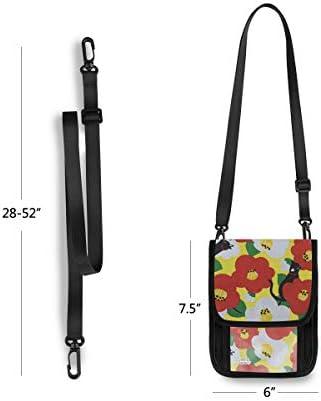 トラベルウォレット ミニ ネックポーチトラベルポーチ ポータブル 花柄 かわいい 猫柄 小さな財布 斜めのパッケージ 首ひも調節可能 ネックポーチ スキミング防止 男女兼用 トラベルポーチ カードケース