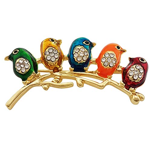 - HAISWET Cute Little Bird Multi Color Brooch Pin Crystal Gold Tone