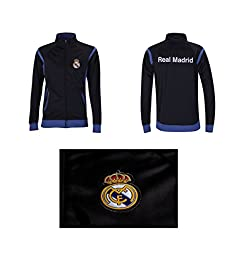 Real Madrid Track Jacket Youth Boys Zip Front (YM, Black)