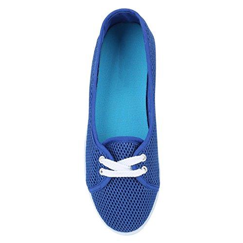 Sportliche Sneakers Damen Ballerinas Denim Stoffschuhe Schnürer Schuhe Halbschuhe Muster Lochung Flats Camouflage Spitze Flandell Blau Lochung