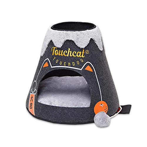 Black Large Black Large JSSFQK Wool Felt Cat Litter Four Seasons Universal Cat Bed Cat Sleeping Bag, Easy To Catch And Easy To Clean, Four colors Optional pet bed (color   Black, Size   L)