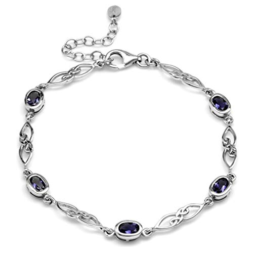 (1.7ct. Natural Iolite White Gold Plated 925 Sterling Silver Celtic Knot 7.25-8.75 Inch Adj.)