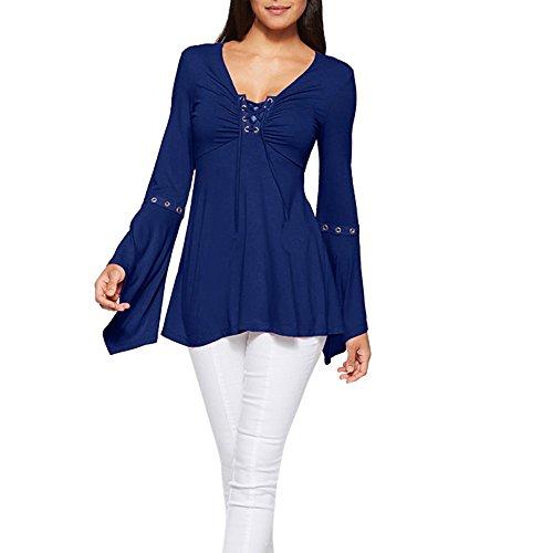 Women Tops LuluZanm Casual Blouse Loose Cotton Tops Women's Flar Sleeve Solid Bandge Shirt T-Shirt ()