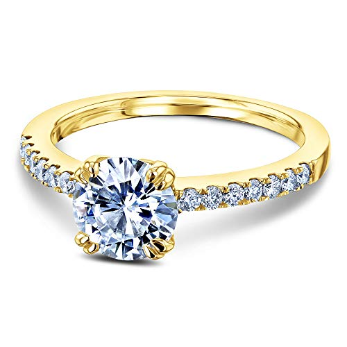 Gold White Solitaire 14k Mounting (1-1/5ct.tw Double Prong Solitaire Moissanite and Side Stone Classic Engagement Ring 14k Yellow Gold (HI/VS, GH/I1-I2), 9.5)