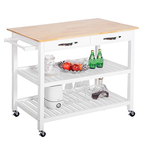 Cheap  Harper&Bright Designs WF039405KAA Concord Series Home Kitchen Island Storage Cart with Wheels..