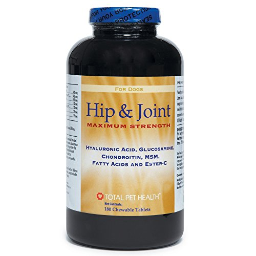 Total Pet Health Hip and Joint Maximum Strength Tablets — Super Enhanced, Veterinarian-Developed Dietary Supplements that Promote Healthy Hip and Joint Function in Dogs, 180-Tablet Bottles