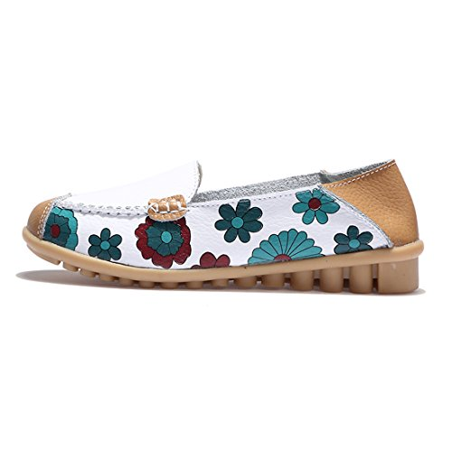 Z.SUO Mujer Mocasines de cuero Moda Loafers Casual Zapatos de conducción Zapatillas Blanco.1