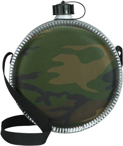 Woodland Camouflage 2 Quart Desert Plastic Canteen by Galaxy Army Navy