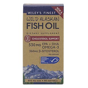 Wileys Finest Wild Alaskan Fish Oil, Omega 3 530 mg Cholesterol Support, 90 Softgels