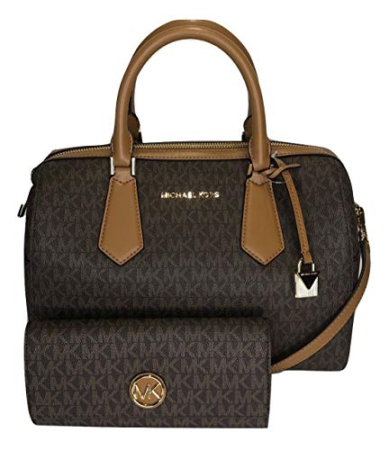 MICHAEL Michael Kors Hayes Large Duffle Satchel bundled with Michael Kors Fulton Flap Continental Wallet (Signature MK Brown/Acorn)
