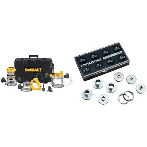 DEWALT DW618B3 12 Amp 2-1/4 Horsepower Plunge Base and Fixed Base with 42000 9-Piece Template Guide Kit by DEWALT