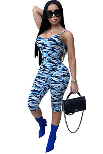 Womens Sexy Bodycon Clubwear Camouflage Knee-Length Bandage Pants Club Jumpsuit (One Piece Catsuit)