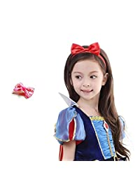 Baby Girls Red Bow Headbands Alligator Hair Clip Set Gift Princes Hair Accessories