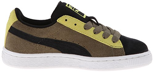 Puma Suede Black Green Youths Trainers